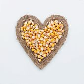 Frame In The Shape Of Heart With Corn