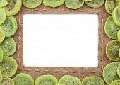 Frame Made Of Burlap With Dried Kiwi