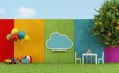 image of playground school  - School playground for children with cloud chalkboard and toys  - JPG