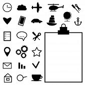 Collection of black icons on white background. vector