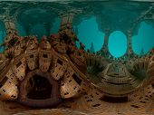 picture of undersea  - Computer rendered undersea virtual scenery with coroded architecture - JPG