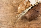 Two Rye Bread With Ears Of Wheat