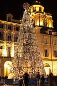 White lights on the Christmas Tree in Turin