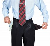 Businessman Showing His Empty One Pocket And Euro In The Other Pocket