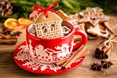 Christmas Ginger Cookies In A Red Mug