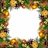 Christmas frame with gold decorations. Vector illustration.