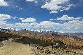 picture of manali-leh road  - Serpentine Road From Roof Of The World - JPG