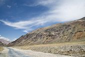 foto of manali-leh road  - Road Among High Altitude Indian Himalaya Mountains - JPG