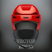 Background of Classic red Ice Hockey Helmet. Vector