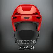 Background of Classic red Ice Hockey Helmet. Vector