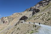 stock photo of manali-leh road  - Bikers Riding at Manali  - JPG