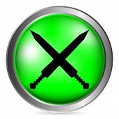 Crossed Gladius Swords Button