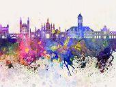 Cambridge Skyline In Watercolor Background