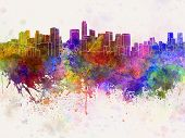 Mexico City Skyline In Watercolor Background