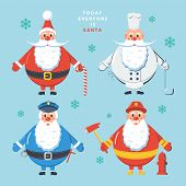 Today everyone is Santa. Color vector illustration.