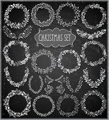 Christmas hand drawn wreath set - Chalkboard. Vector illustration.