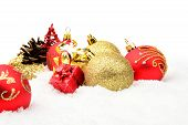 Golden,red Christmas Decoration On Snow