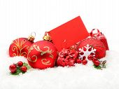Red Christmas Decoration On Snow With Wishes Card