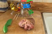 Ham Hock On Cutting Board With 2015 Decoration