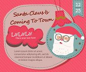 Season Greetings, Christmas card with Santa Claus is Coming To Town