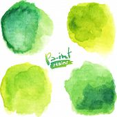 Green watercolor painted vector stains set