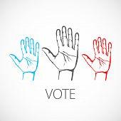 warm colorful up hands logo, vector illustration vote