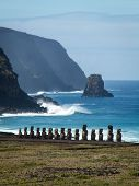 Row Of Moai By Sea Portrait Close
