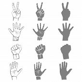 hands holding protect giving gestures icons set isolated vector illustration