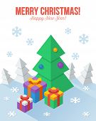 Axonometric Christmas greeting card in flat style