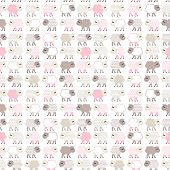 Seamless pastel pink pattern with sheep
