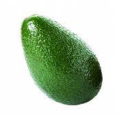 Fresh Whole  Avocado Isolated On A White Background.  Ripe Beautiful Avocado Macro