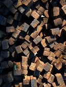 Large Pile of Wood Railroad Ties