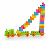 Train Of Colorful Childrens Building Bricks With Staircase