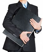 Business Man In Black Suit Hand Holding Briefcase