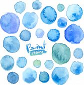 Big vector set of blue watercolor stains