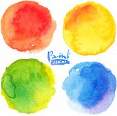 Bright colors watercolor painted stains set