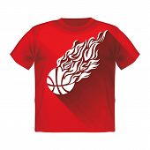 Retro Sport Flame Mascot Vector T-shirt with a basketball