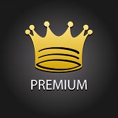 Premium quality golden label with crown, vector illustration