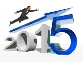 Conceptual 3D human,man or businessman flying  over an blue 2015 year symbol with an arrow isolated on white background