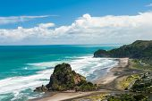 Beautiful Piha beach near Auckland with a mighty Lion Rock, New Zealand