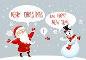 Santa Claus and snowman greetings. Winter holiday card.