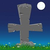 foto of burial-vault  - Grave with stone cross moon in the night - JPG