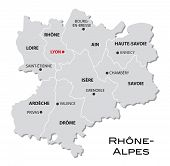 Simple Administrative Map Of Rhone-Alpes