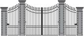 stock photo of wrought iron  - vector illustration of a wrought iron gate - JPG