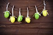Six Green And Yellow Easter Eggs With Frame