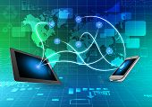 Phone and tablet on side world map abstract background.