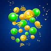 set of icons flying in multi-colored the balls.