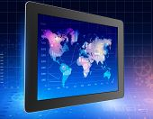 tablet with world map and located on it icons.