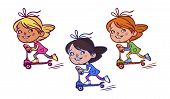Funny vector cartoon Girl on scooter. vector illustration