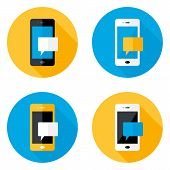 Mobile Message Circle Flat Icons Set